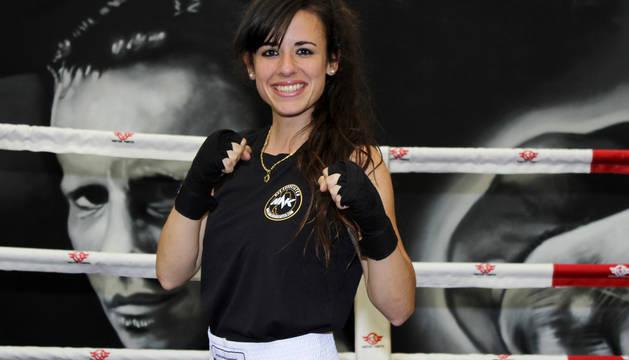 La boxeadora Ester Gallardo, en el gimnasio Fitbox de Barañáin donde prepara el combate de este sábado en Berriozar.
