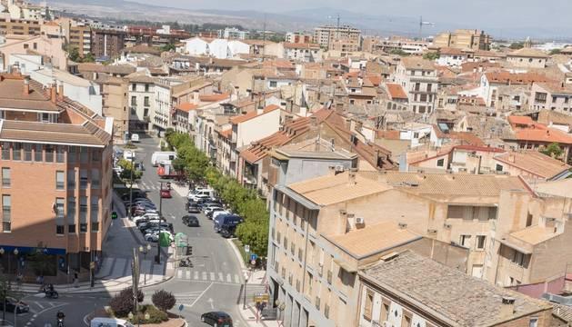 Imagen de parte del paseo de Pamplona, en primer término, y de la calle Muro, al fondo.