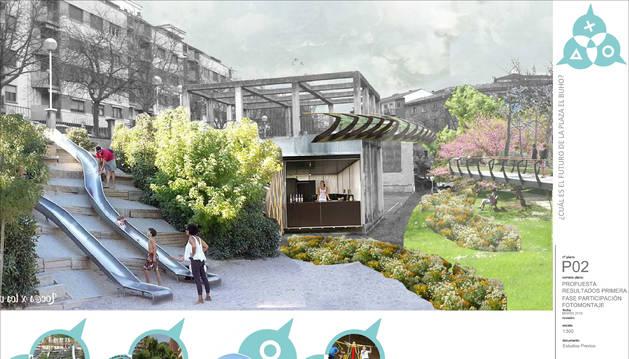 La propuesta para la plaza del Búho incluye toboganes, un ascensor y una pasarela