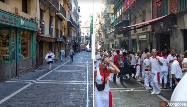 La calle Estafeta, a la izda., durante las fiestas de San Fermín, a la dcha., un día normal.
