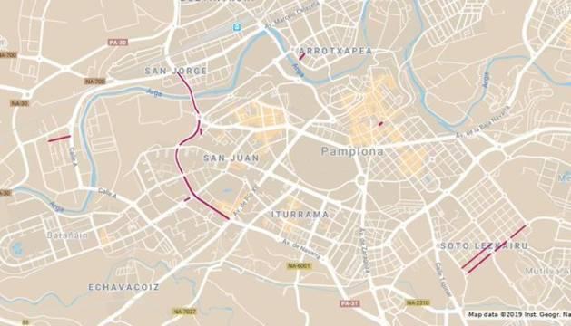 Mapa con los cortes de tráfico previstos para este viernes 14 de junio.