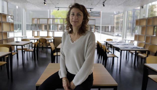 Foto de Geraldine Gonard, esta semana, en la cafetería del Baluarte de Pamplona.