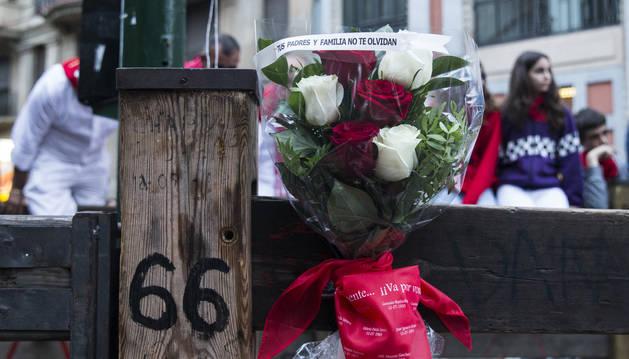 Foto del homenaje a Daniel Jimeno, última víctima mortal de San Fermín.