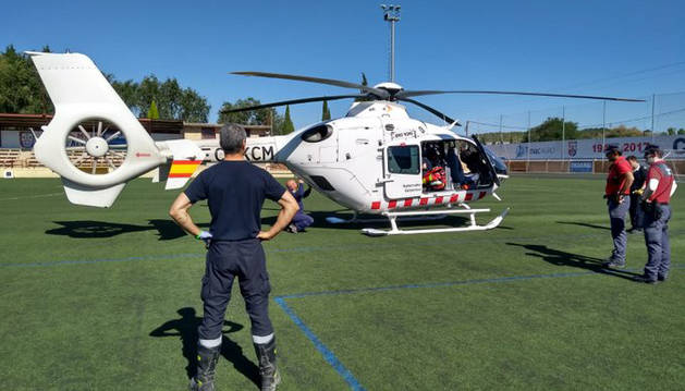 El helicóptero del Gobierno de Navarra, en Lodosa.