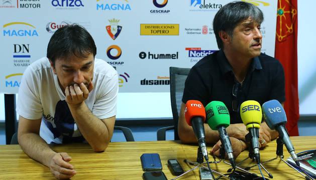 Imanol y Tatono Arregui, técnico y presidente del Osasuna Magna.