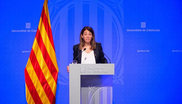 Foto de la portavoz del Govern, Meritxell Budó, que trasladó la petición del gobierno catalán de liberar a los presos o al menos trasladarlos a cárceles catalanas.