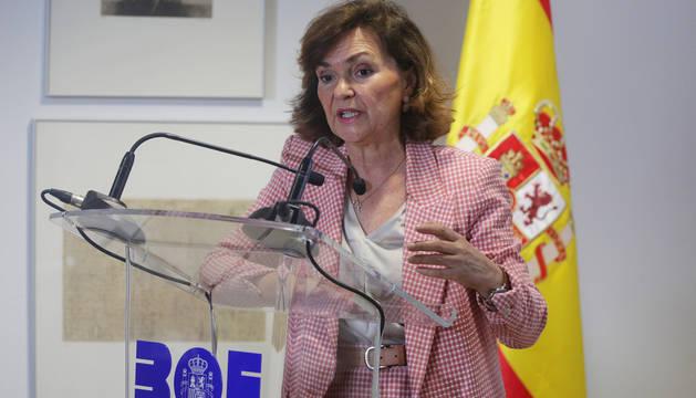 Carmen Calvo, en la presentación de la nueva web del BOE.