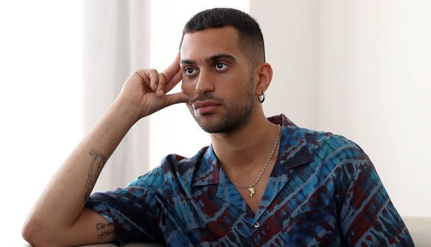 El cantante italiano Mahmood, durante una entrevista en Madrid.