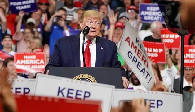 Trump, en el inicio de su campaña en el Amway Center de Orlando, Florida.
