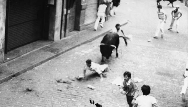 La escalofriante cogida a Stephen Townsend en el encierro del 10 de julio de 1984