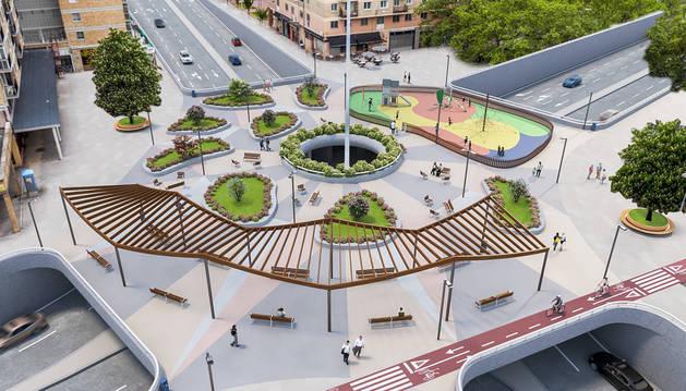 Infografía de la nueva plaza peatonal diseñada por el arquitecto Carlos Guerra para los vecinos de San Jorge.