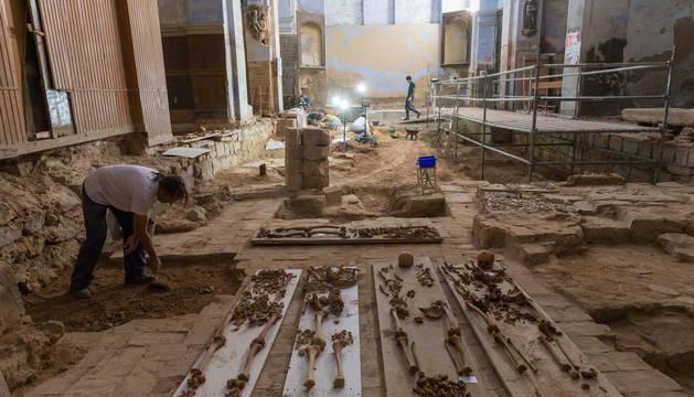 Una imagen de las excavaciones realizadas en el taller de arqueología de 2018 en San Nicolás.