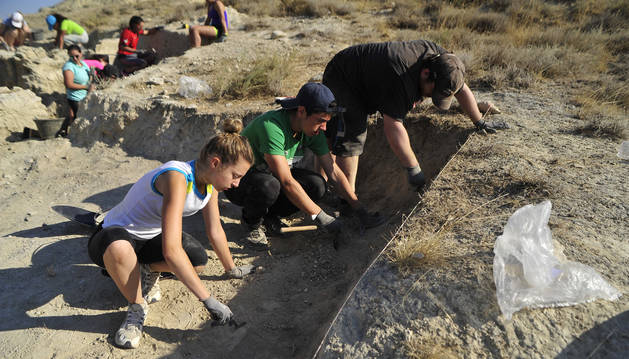 Foto de voluntarios del campamento arqueológico de Caparroso en 2016.
