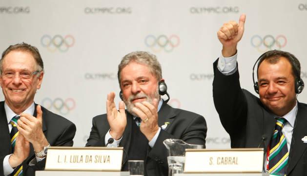 Carlos Nuzman, Lula Inazio Lula da Silva y Sergio Cabral, en 2009.