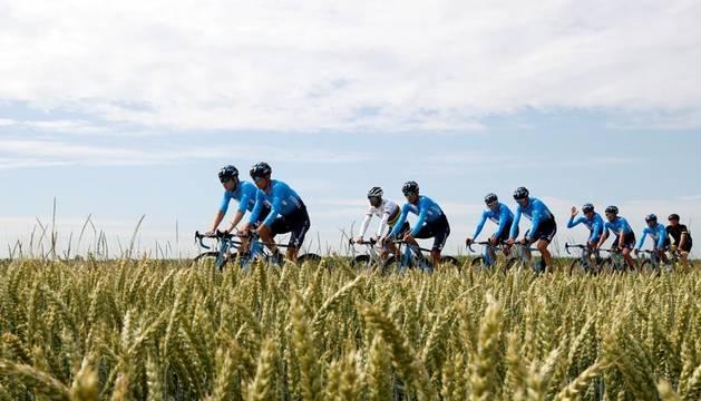 El equipo Movistar, durante un entrenamiento en Bélgica.
