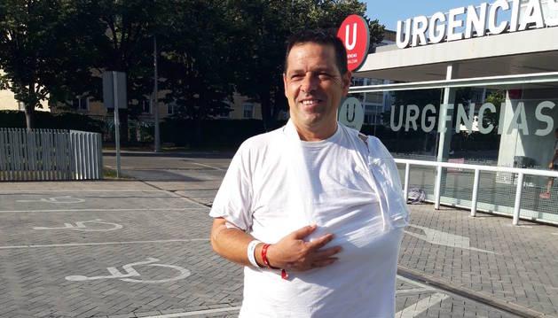 Mario García Roda, a su salida de urgencias.