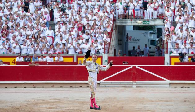 Pepín Liria, durante una corrida de los Sanfermines de 2018.