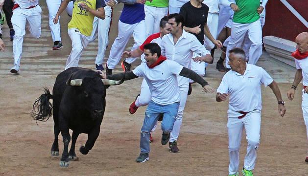 Foto de la llegada de los toros a la plaza de toros, este jueves.