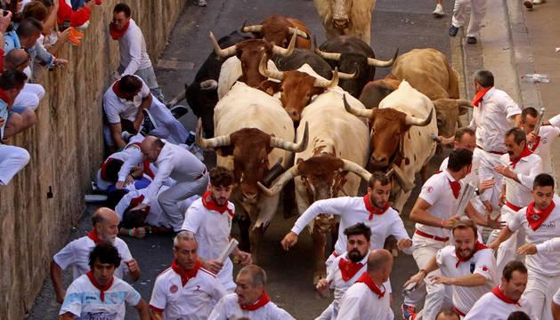 foto de Mario Jiménez cayó al suelo, dejando su pierna al descubierto, al tratar de apartarse de la manada. Entonces un toro aprovechó para cornearla.