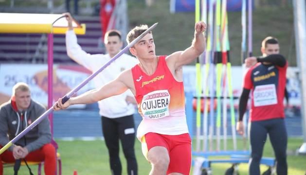 Manu Quijera lanza la jabalina en el Europeo sub23 de Gavle en el que finalizó quinto.