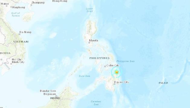 Mapa con la localización del epicentro del seísmo registrado al norte de la isla de Mindanao.