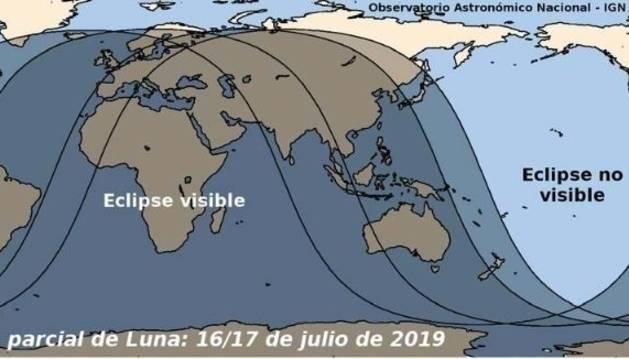 Esta noche será visible desde Navarra un eclipse parcial de Luna