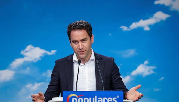 El secretario general del Partido Popular, Teodoro García Egea, durante la rueda de prensa ofrecida tras la reunión del Comité de Dirección.
