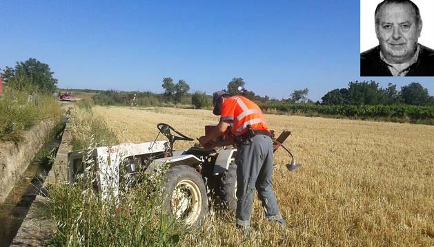 Foto del tractor que conducía Ángel Ayala este lunes por la mañana cuando se produjo su fallecimiento.