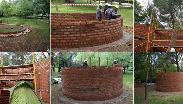 La fuga (2019), seis fotografías sobre la escultura que Jiménez Landa y un grupo de voluntarios hizo en Cáceres desde su interior. Todos ellos tuvieron que desalojarla después como pudieron.