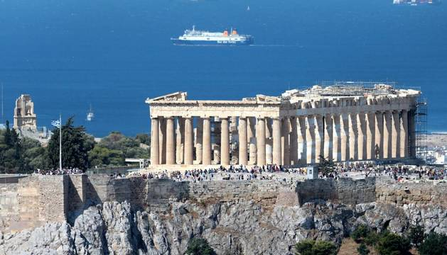 Foto del Partenón en el Acrópolis de Atenas, Grecia.