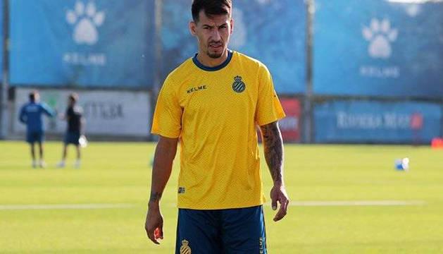 Hernán Pérez, durante una sesión con el Espanyol.