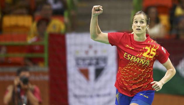 La navarra Nerea Pena celebra un gol ante Noruega en la fase de grupos de los Juegos Olímpicos de Río de 2016.