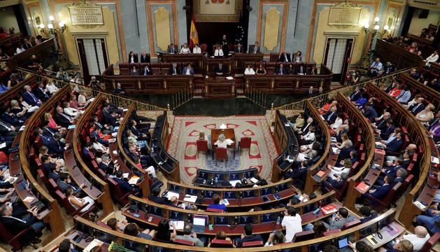 Imagen de la cámara durante el discurso de investidura de Pedro Sánchez.