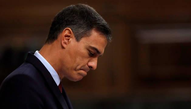 Imagen de Pedro Sánchez durante el discurso de la sesión de investidura.