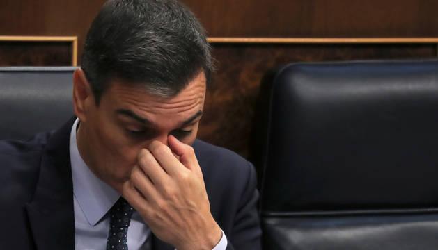 Imagen de Pedro Sánchez, este martes en la segunda sesión del debate de investidura.