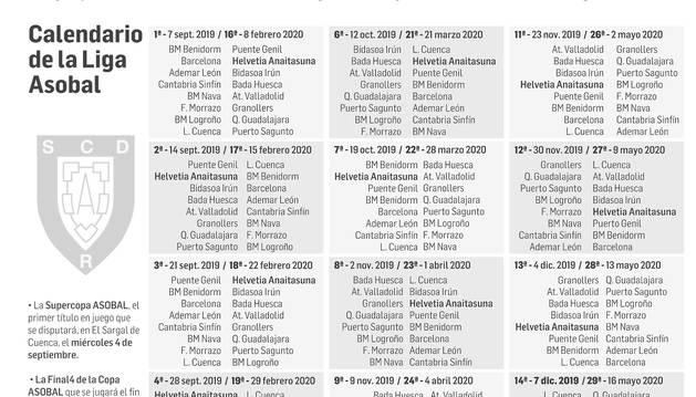 Calendario de la Liga Asobal 2019-2020.