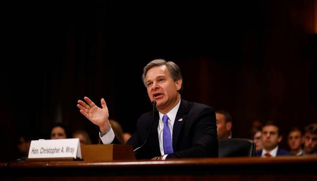 El director del FBI, Christopher Wray, testifica ante una audiencia del Comité Judicial del Senado sobre