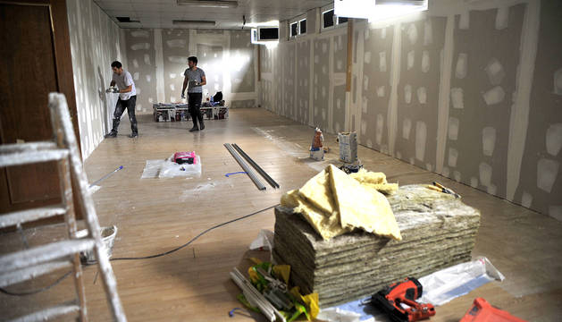 Fotografía de la sala del Complejo Deportivo de Peralta en obras