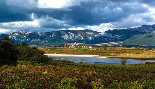 Foto de la vista panorámica de Laguardia con su paisaje típico de viñedos.