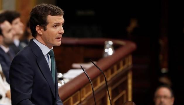 Pablo Casado, este jueves en el debate de investidura.
