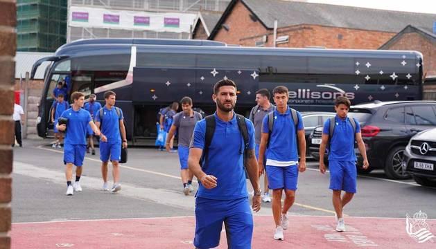 Raúl Navas, ayer durante el viaje de la Real Sociedad a Inglaterra.