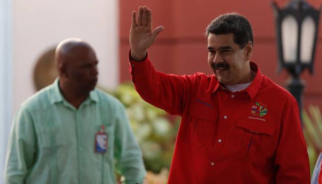 Foto de Nicolás Maduro, en un mitin en Caracas, Venezuela.