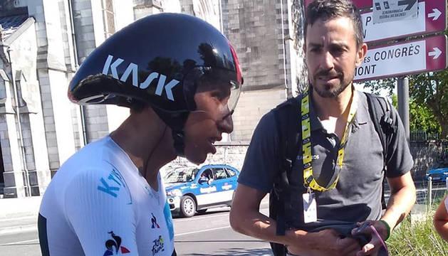 Xabier Zandio, junto con Bernal en la contrarreloj de Pau del Tour.