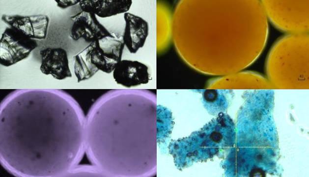 Imagen que muestra restos de microplásticos en cosméticos bajo microscopía óptica