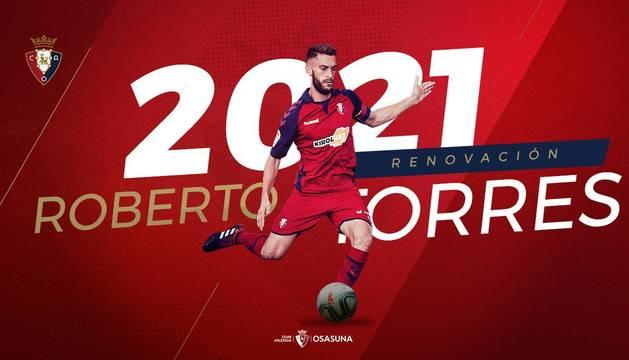 Roberto Torres renueva su contrato con Osasuna hasta 2021