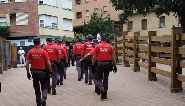 Foto de varios agentes de Policía Foral.