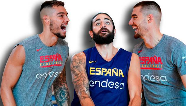 De izquierda a derecha: Willy Hernángomez, Ricky Rubio y Juancho Hernángomez, los tres representantes de la NBA que jugarán hoy en el Navarra Arena.