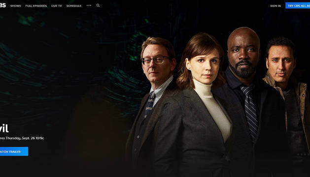 Portal web de la cadena estadounidense CBS con promoción de 'Evil', una de sus series.