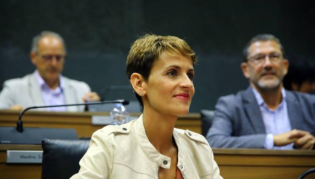 María Chivite, en la primera sesión de investidura.