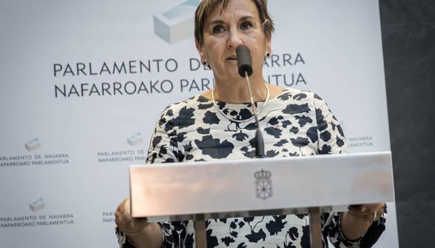 Marisa de Simón, tras el pleno de investidura de María Chivite como presidenta.